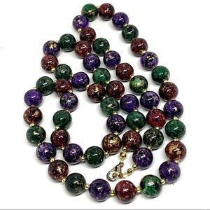 5/$25 Beaded Necklace Jewel Colors Gold Tone Fleck